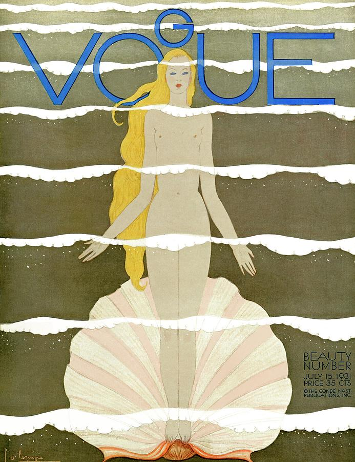A Vintage Vogue Magazine Cover Of A Naked Woman Photograph by Georges Lepape