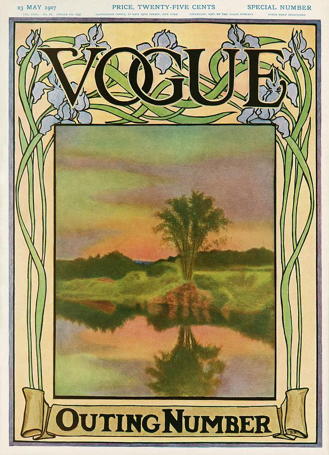 A Vintage Vogue Magazine Cover Of A River Photograph by Artist Unknown