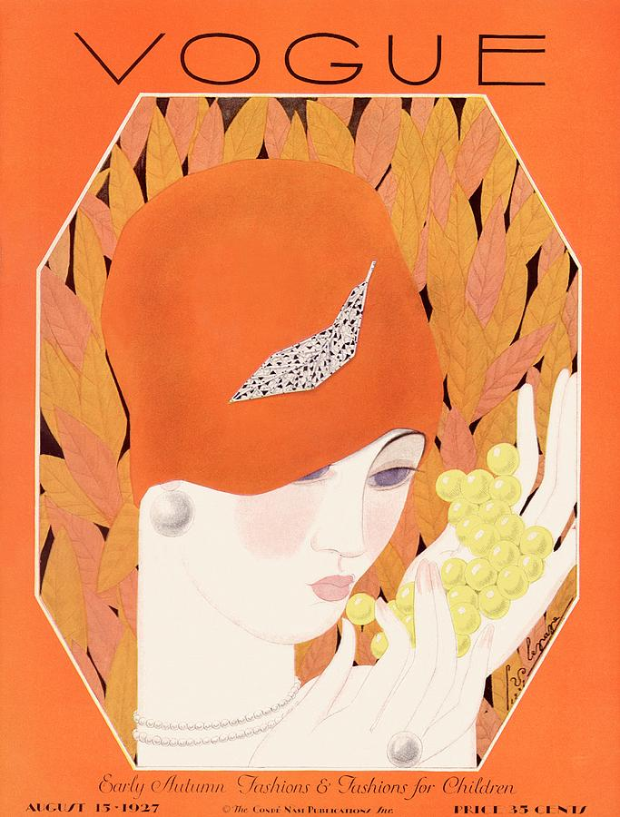 A Vintage Vogue Magazine Cover Of A Woman Eating Photograph by Georges Lepape
