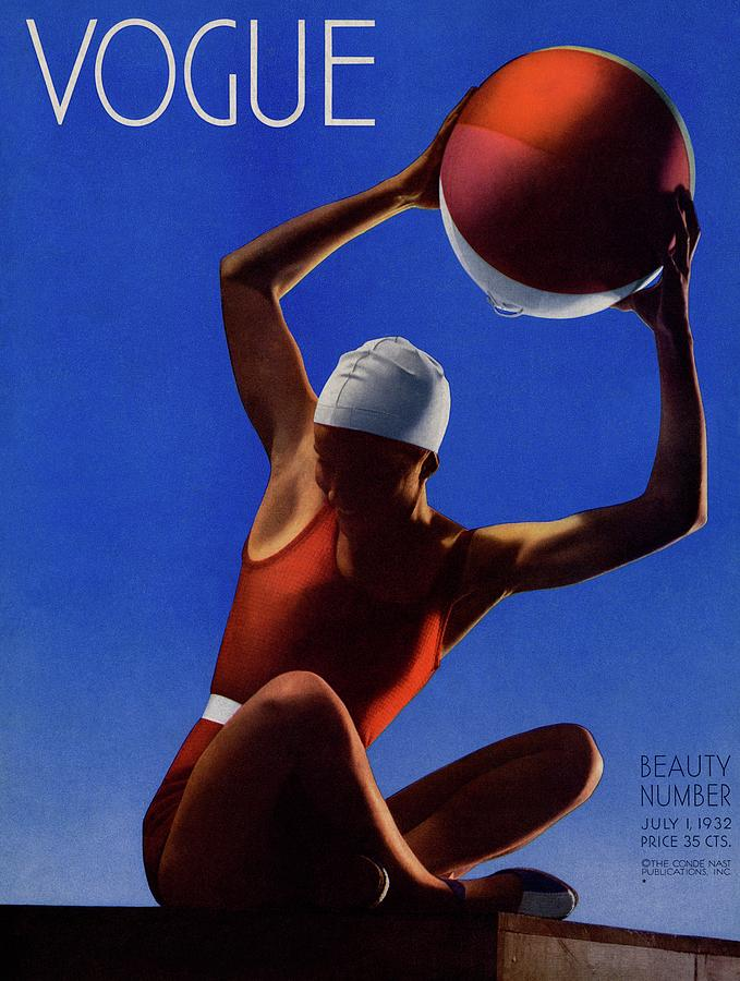 A Vintage Vogue Magazine Cover Of A Woman Photograph by Edward Steichen