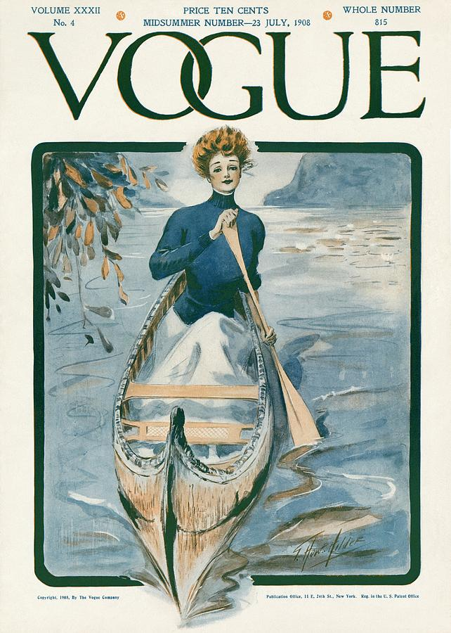 A Vintage Vogue Magazine Cover Of A Woman Photograph by G. Howard Hilder