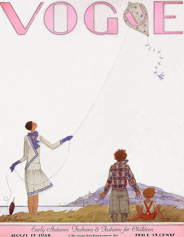 Illustration Photograph - A Vintage Vogue Magazine Cover Of Two Children by Georges Lepape