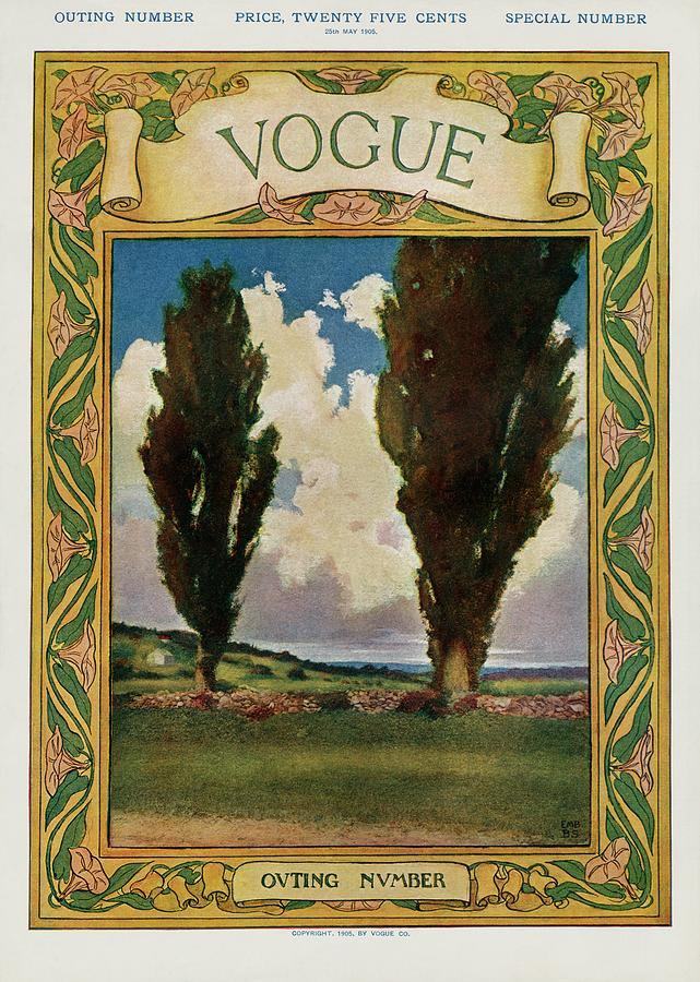 A Vintage Vogue Magazine Cover Of Two Trees Photograph by Artist Unknown