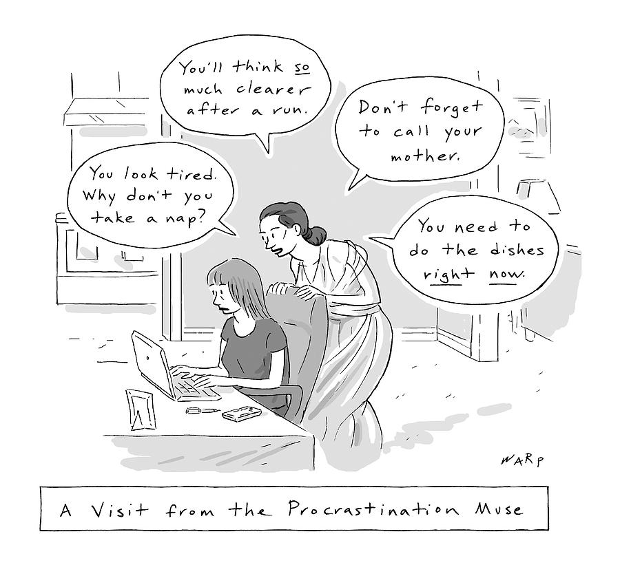 A Visit From The Procrastination Muse -- A Greek Drawing by Kim Warp