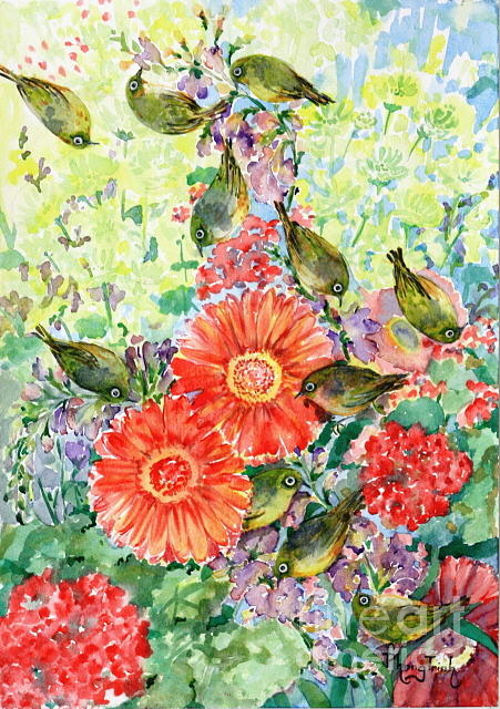 All Painting - A Visit Of The Silvereyes by Phong Trinh