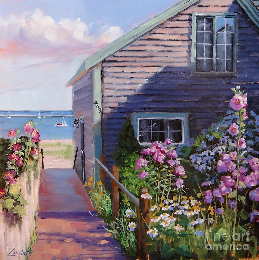 Seascape Painting - A Visit To P Town Two by Laura Lee Zanghetti