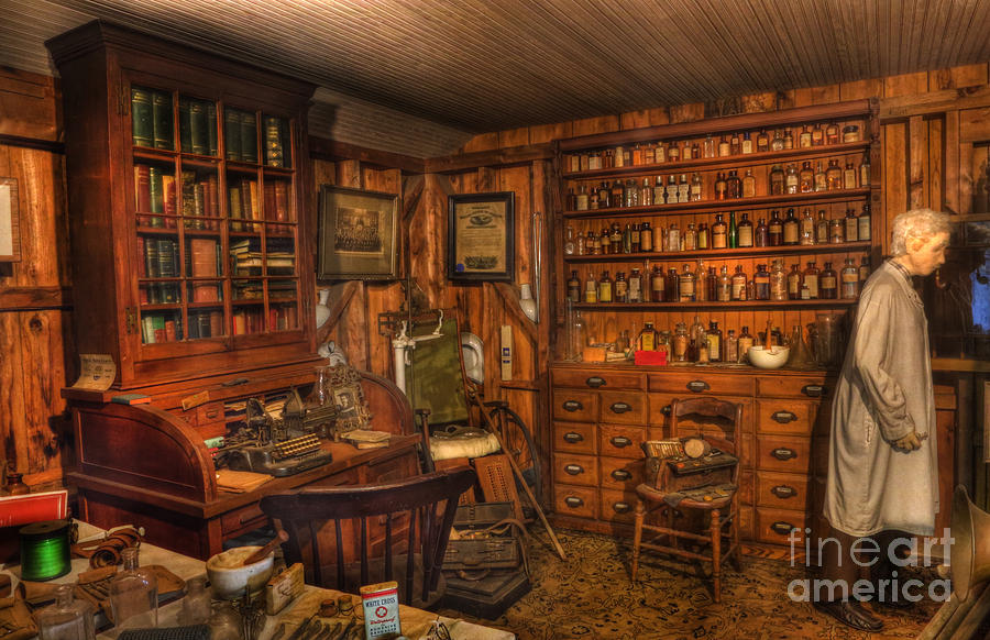 Alchemist Photograph - A Visit To The Doctors Office - Old Time Physician Office - Doctors - Pharmacists - Opticians by Lee Dos Santos