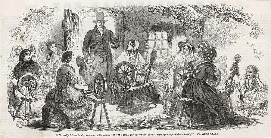 Irish Drawing - A Visitor Enters An Irish  cabin by Mary Evans Picture Library