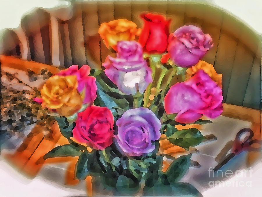 Bouquet Of Roses Photograph - A Vivid Rose Bouquet For You by Thomas Woolworth