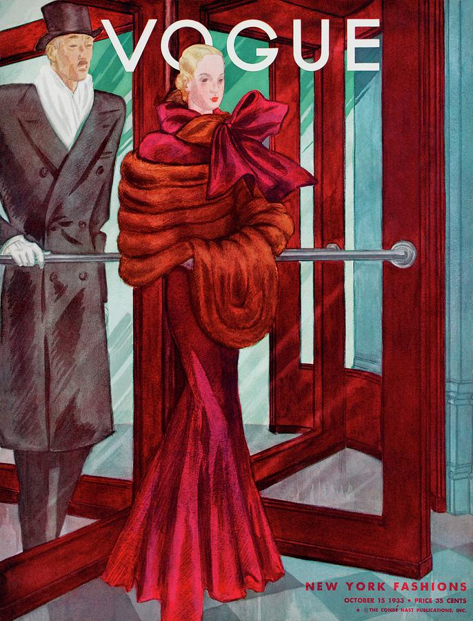 A Vogue Cover Of A Couple In A Revolving Door Photograph by Georges Lepape