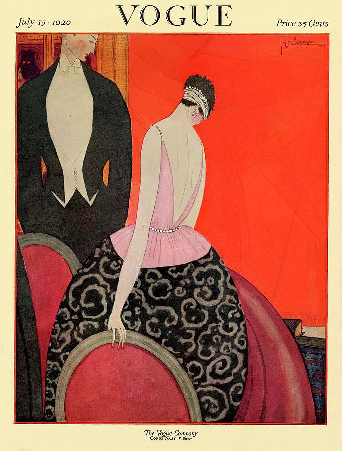A Vogue Cover Of A Couple In Formalwear Photograph by Georges Lepape