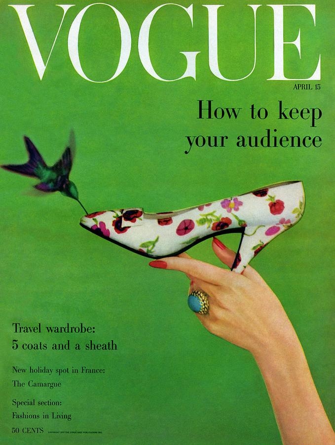 A Vogue Cover Of A Floral Dior High Heel Photograph by Richard Rutledge