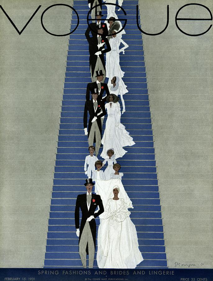 A Vogue Cover Of A Wedding Party Photograph by Pierre Mourgue