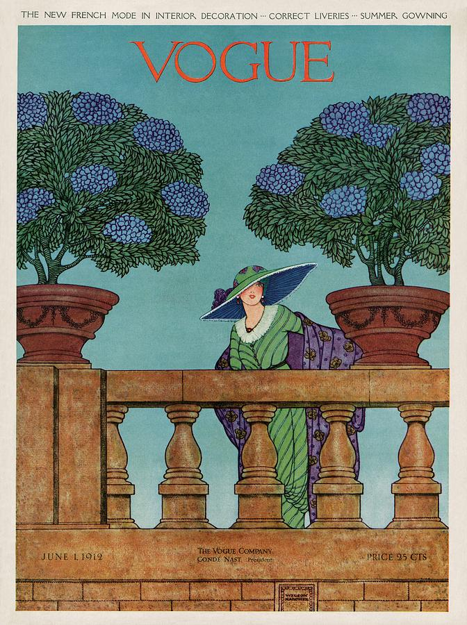 A Vogue Cover Of A Woman At A Balustrade Photograph by Wilson Karcher