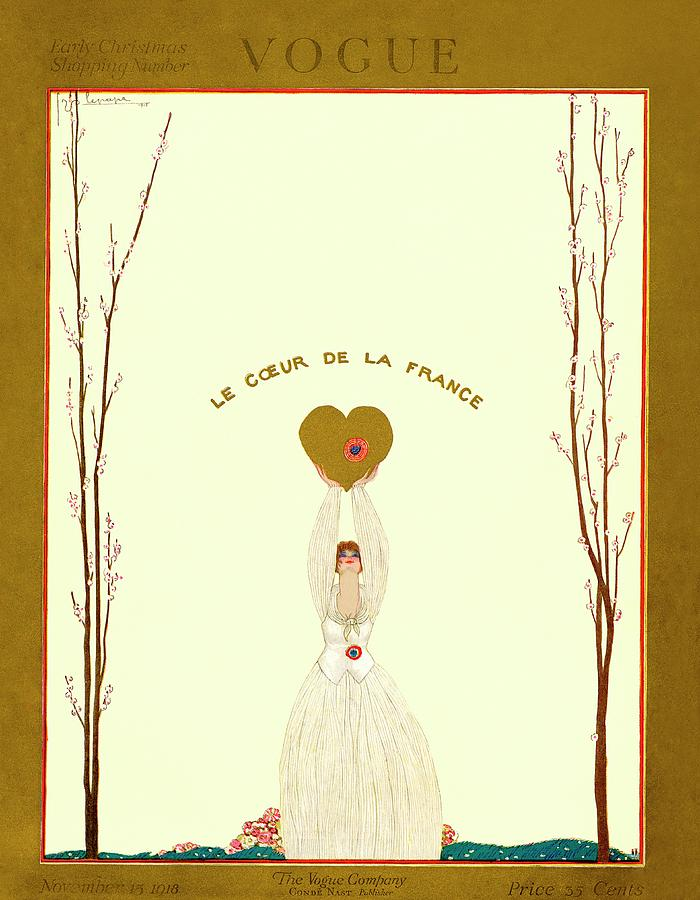 A Vogue Cover Of A Woman Holding A Gold Heart Photograph by Georges Lepape