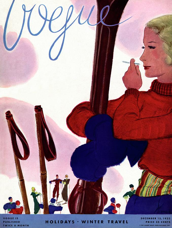 A Vogue Cover Of A Woman Holding Skis Smoking Photograph by Jean Pages