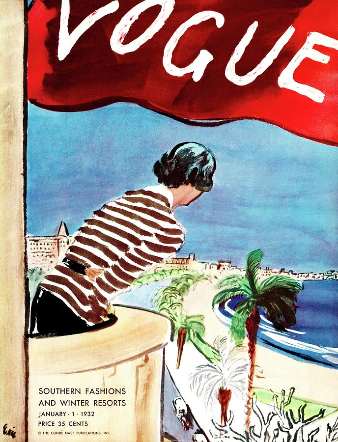 A Vogue Cover Of A Woman Leaning Over A Balcony Painting by Carl Oscar August Erickson
