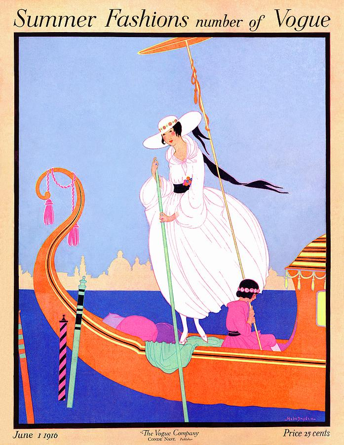 A Vogue Cover Of A Woman On A Gondola Photograph by Helen Dryden