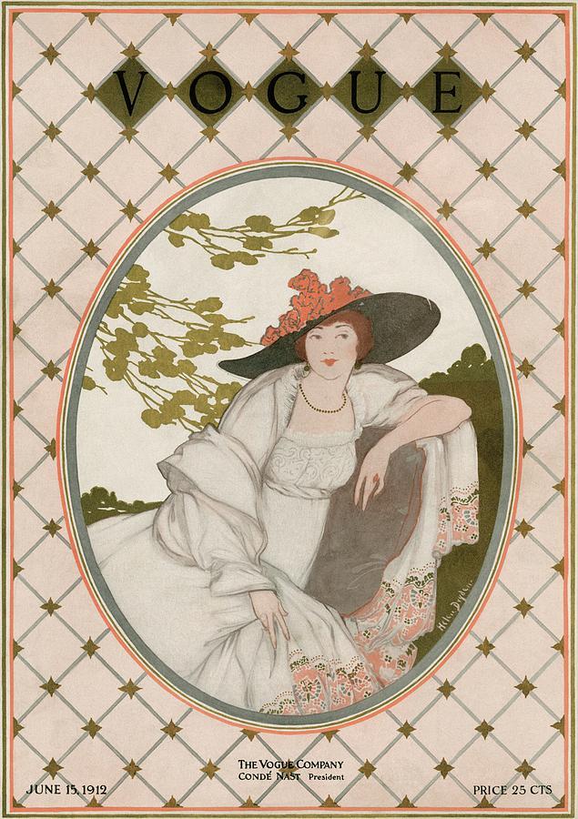 A Vogue Cover Of A Woman Wearing A Gray Dress Photograph by Helen Dryden