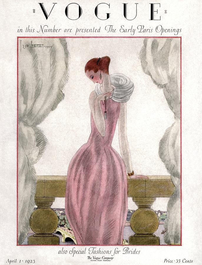 A Vogue Cover Of A Woman Wearing A Pink Dress Photograph by Georges Lepape