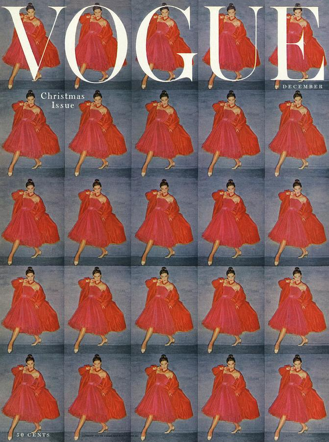 A Vogue Cover Of A Woman Wearing Red Photograph by Clifford Coffin