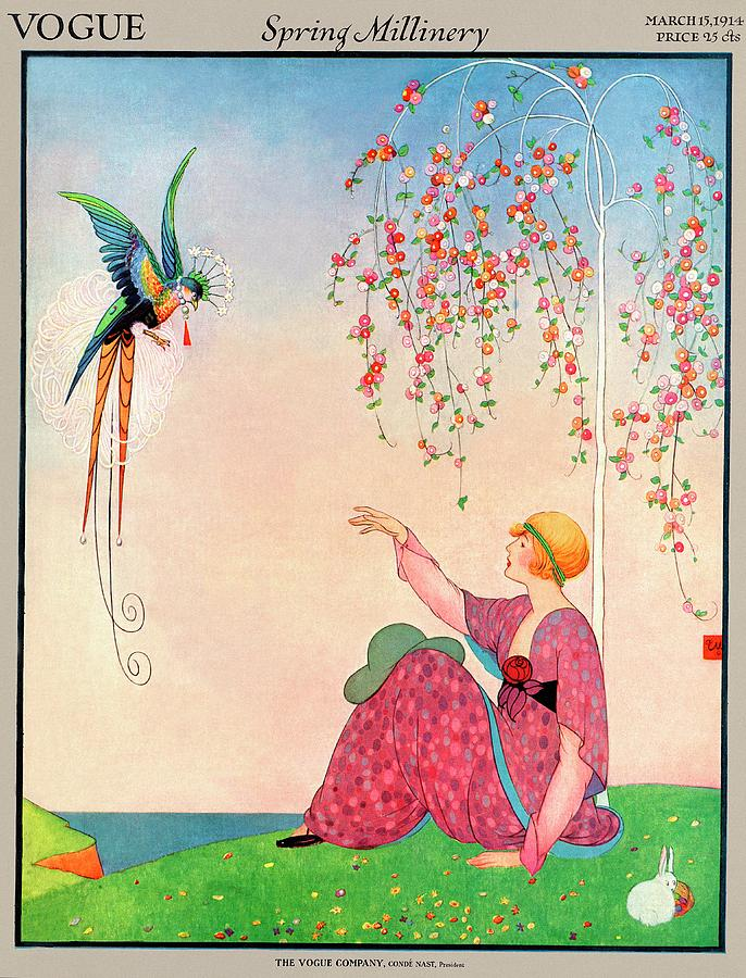 A Vogue Cover Of A Woman With A Bird Photograph by George Wolfe Plank