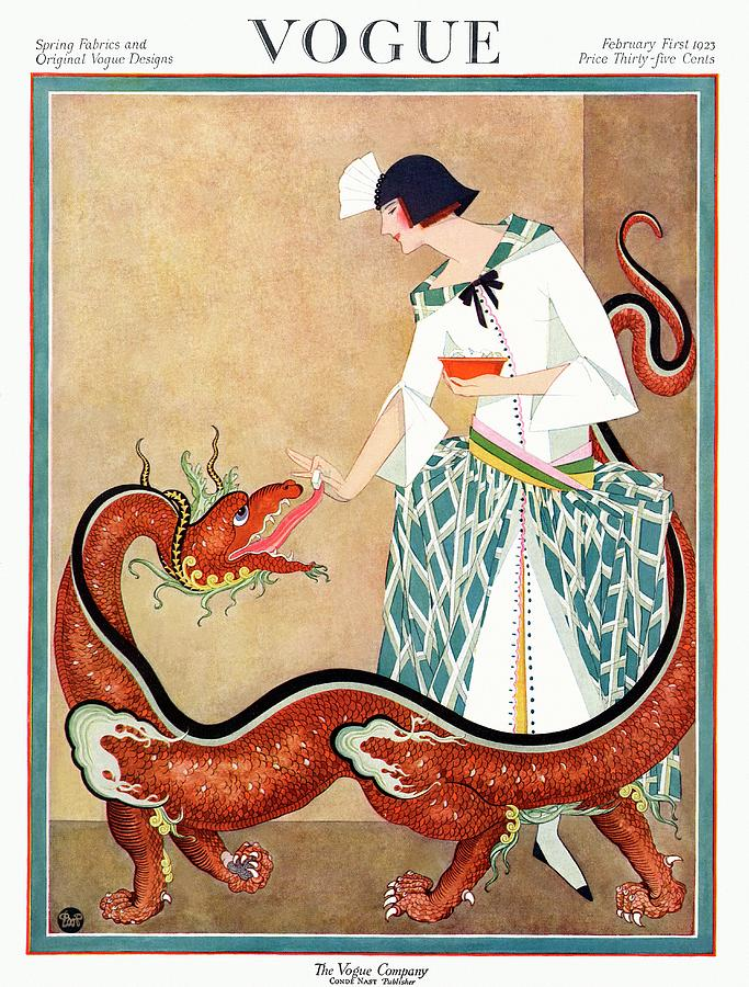 A Vogue Cover Of A Woman With A Chinese Dragon Photograph by George Wolfe Plank