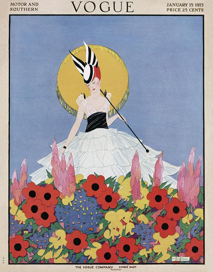 A Vogue Cover Of A Woman With Flowers Photograph by Margaret B. Bull
