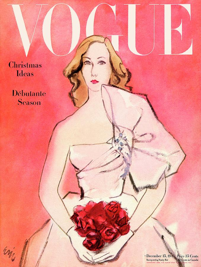 A Vogue Cover Of A Woman With Roses Photograph by Carl Oscar August Erickson