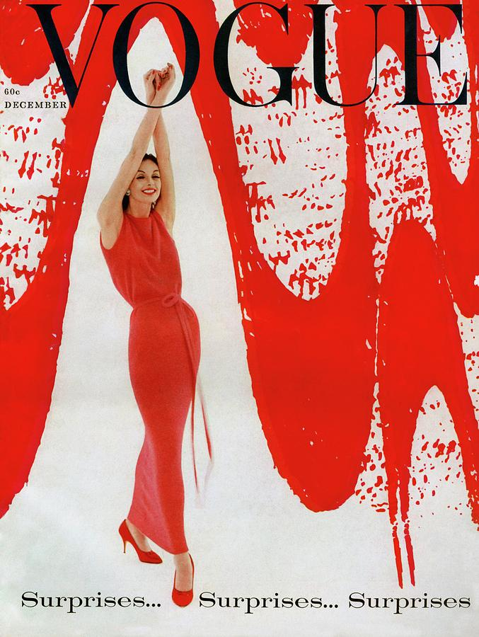 A Vogue Cover Of Anne St. Marie And Red Paint Photograph by William Bell