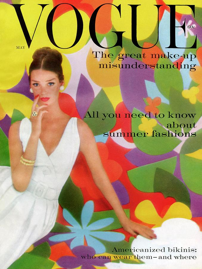 A Vogue Cover Of Dolores Hawkins With A Floral Photograph by William Bell