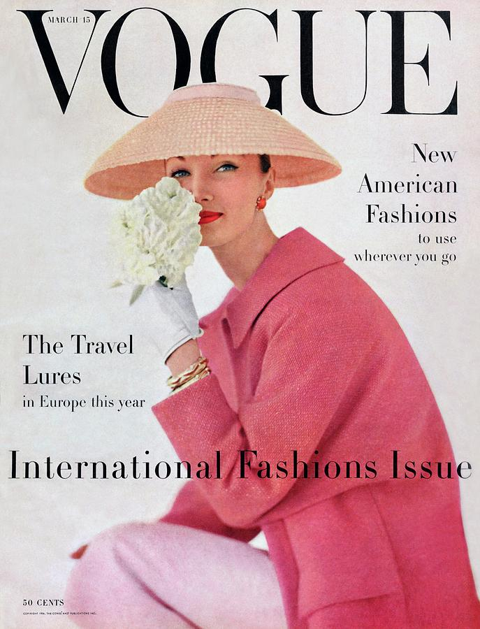 A Vogue Cover Of Evelyn Tripp Wearing Pink Photograph by Karen Radkai