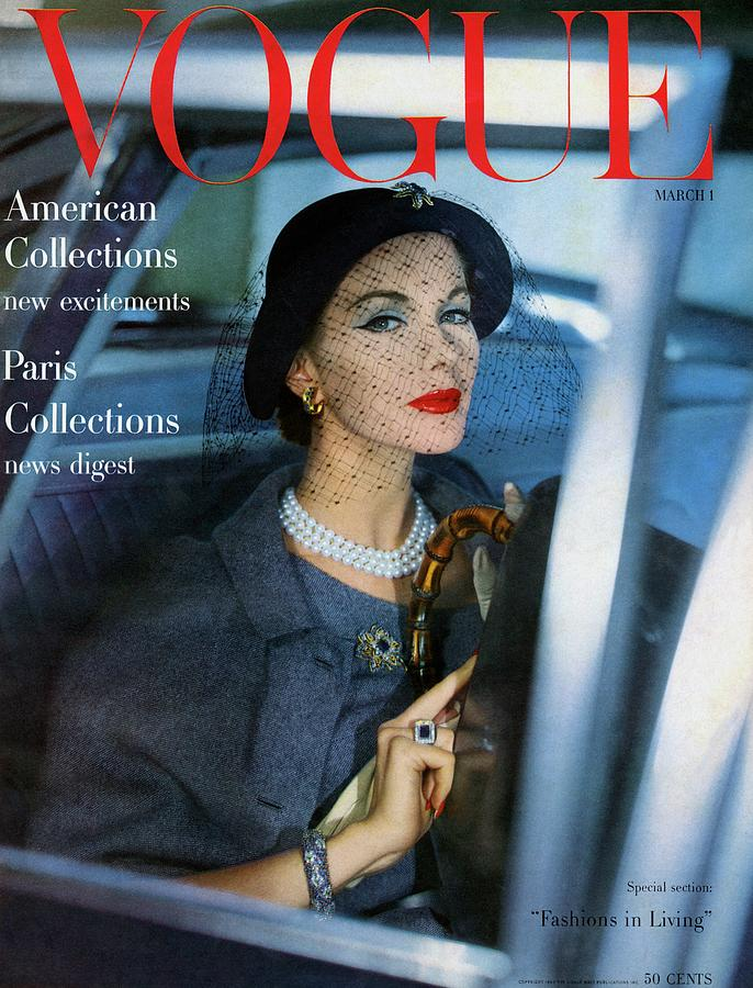 A Vogue Cover Of Joan Friedman In A Car Photograph by Clifford Coffin