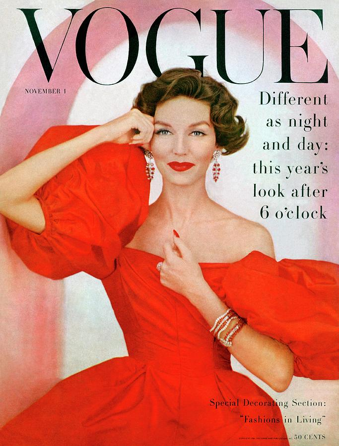 Fashion Photograph - A Vogue Cover Of Joanna Mccormick Wearing by Richard Rutledge