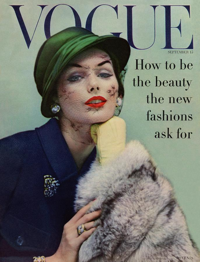 A Vogue Cover Of Lucinda Hollingsworth With A Fur Photograph by Karen Radkai