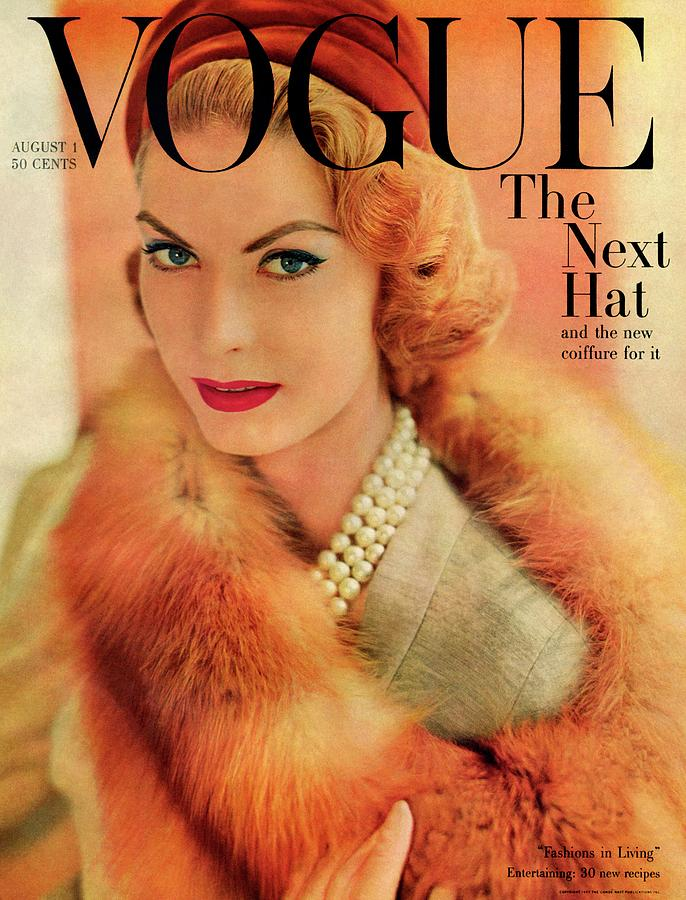 Fashion Photograph - A Vogue Cover Of Mary Mclaughlin Wearing A Fox by Horst P. Horst