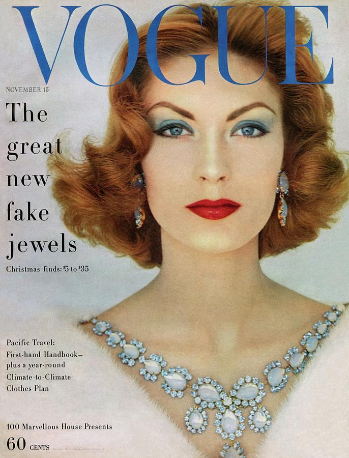 A Vogue Cover Of Mary Mclaughlin Wearing Miriam Photograph by Leombruno-Bodi