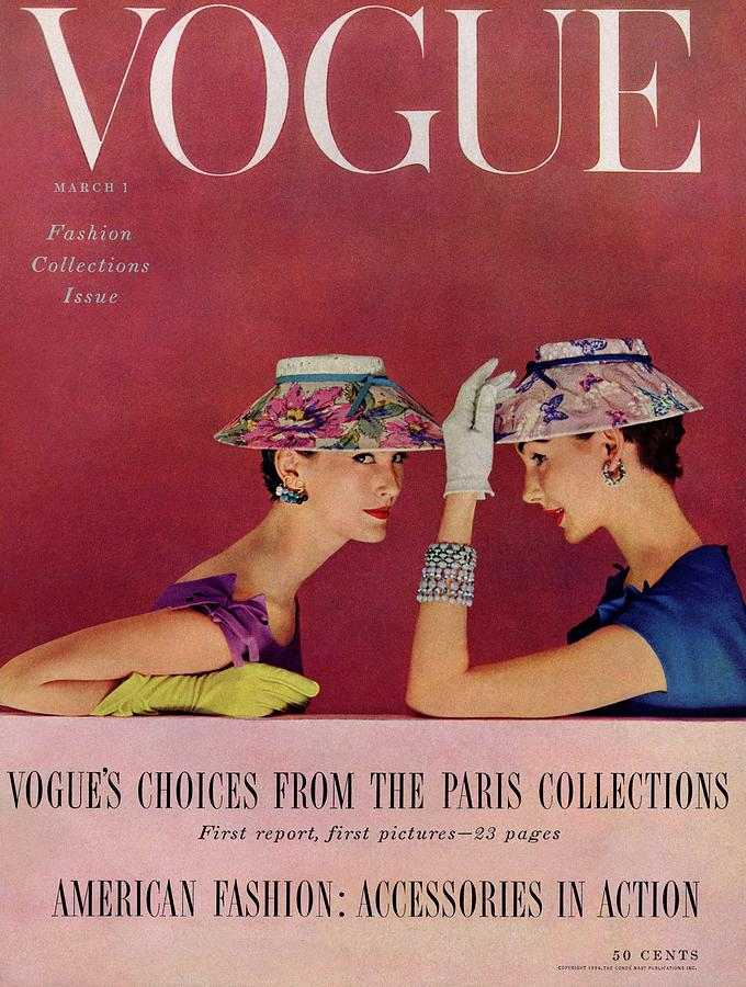A Vogue Cover Of Models Wearing Lilly Dache Hats Photograph by Richard Rutledge