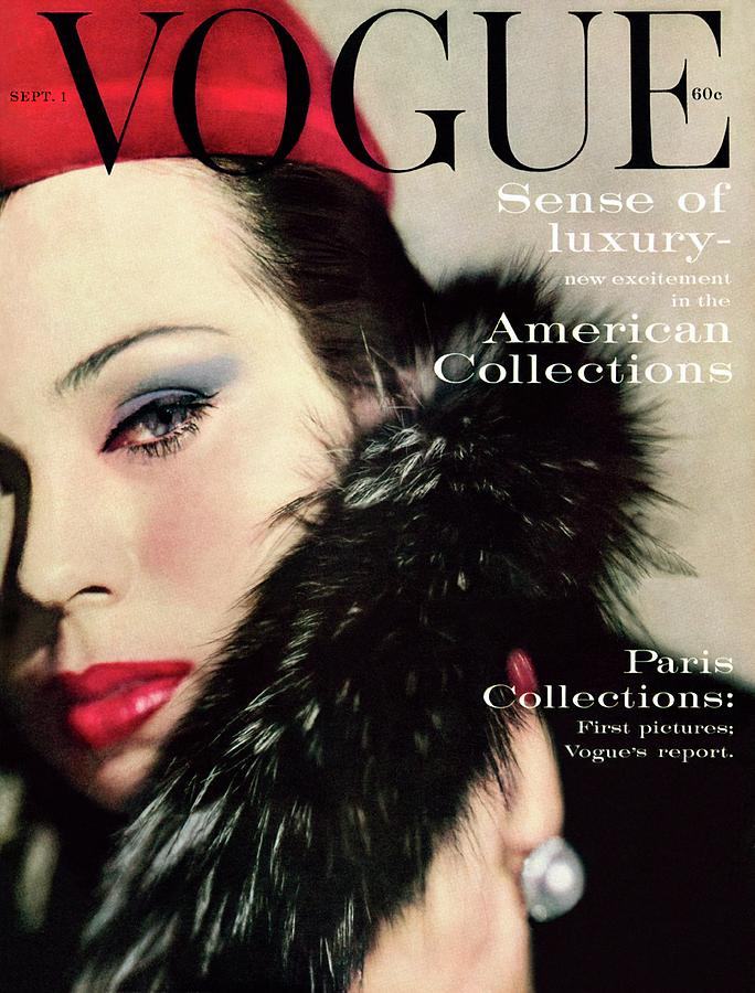 Fashion Photograph - A Vogue Cover Of Morris Wearing A Fur Collar by Karen Radkai