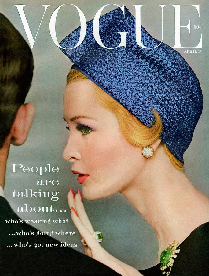A Vogue Cover Of Sarah Thom Wearing A Blue Hat Photograph by Richard Rutledge