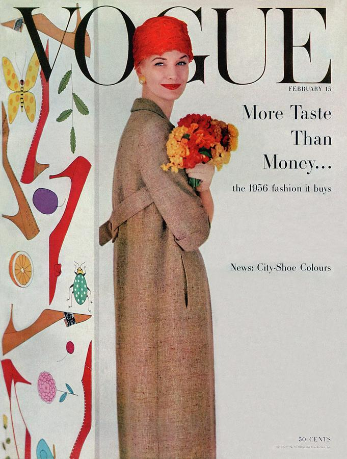 A Vogue Cover Of Sunny Harnett With Flowers Photograph by Karen Radkai