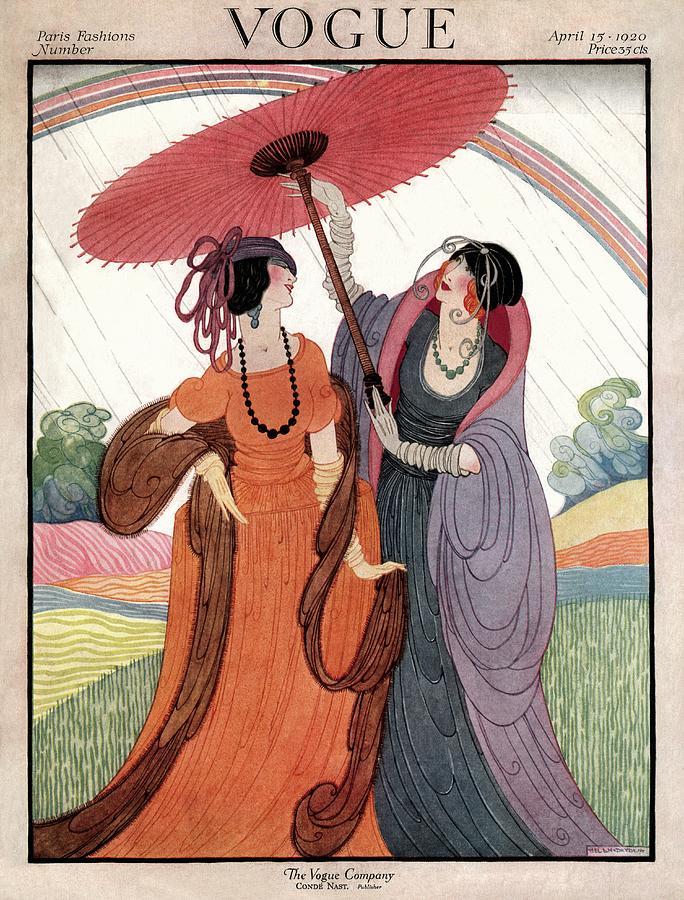A Vogue Cover Of Women Under An Umbrella Photograph by Helen Dryden