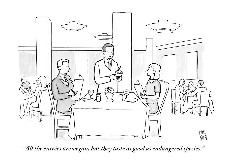 A Waiter Addresses A Couple Who Are Seated Drawing by Paul Noth