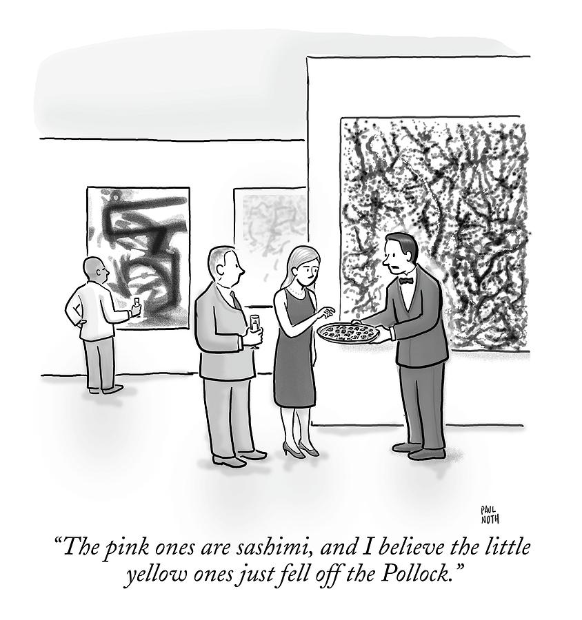 A Waiter Is Seen Speaking With A Woman In An Art Drawing by Paul Noth