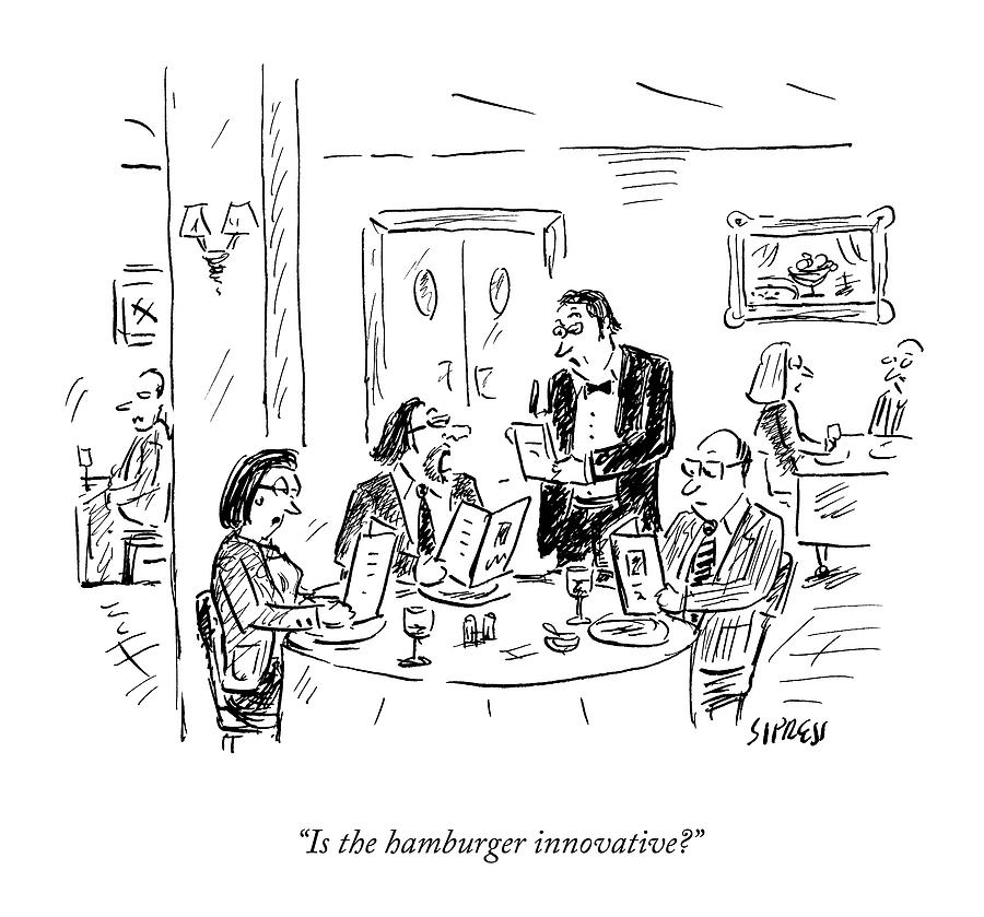 A Waiter Takes Orders At A Restaurant Drawing by David Sipress