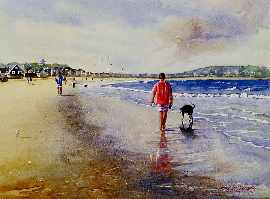 Nantasket Beach Painting - A Walk For Riley Girl by Laura Lee Zanghetti