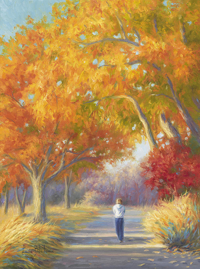 Fall Painting - A Walk In The Fall by Lucie Bilodeau