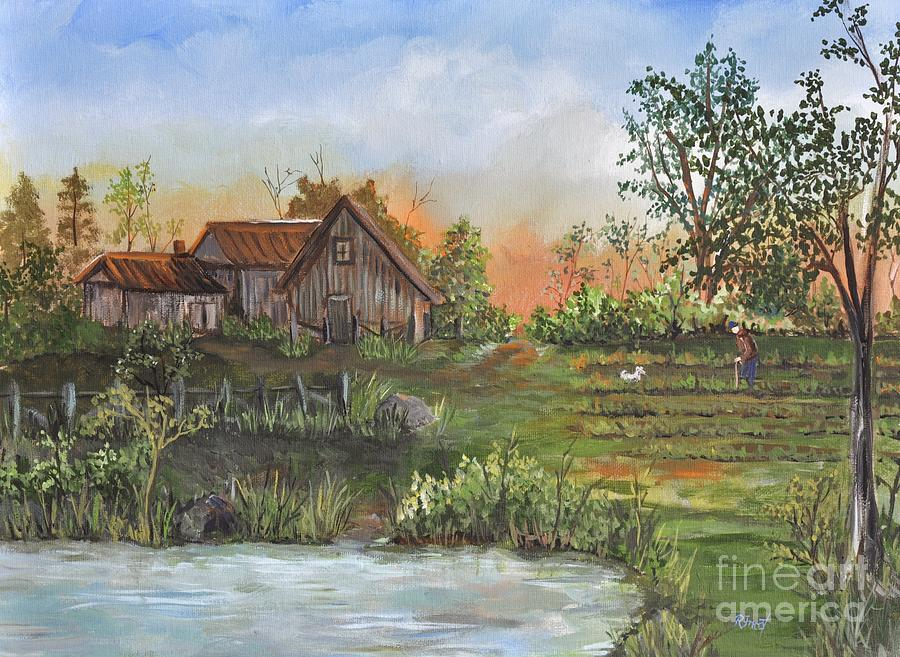 Rural Scenes Painting - A Walk In The Garden by Reb Frost