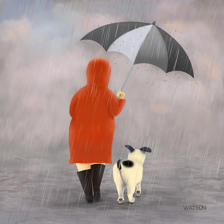 Woman Digital Art - A Walk In The Rain 2 by Marlene Watson