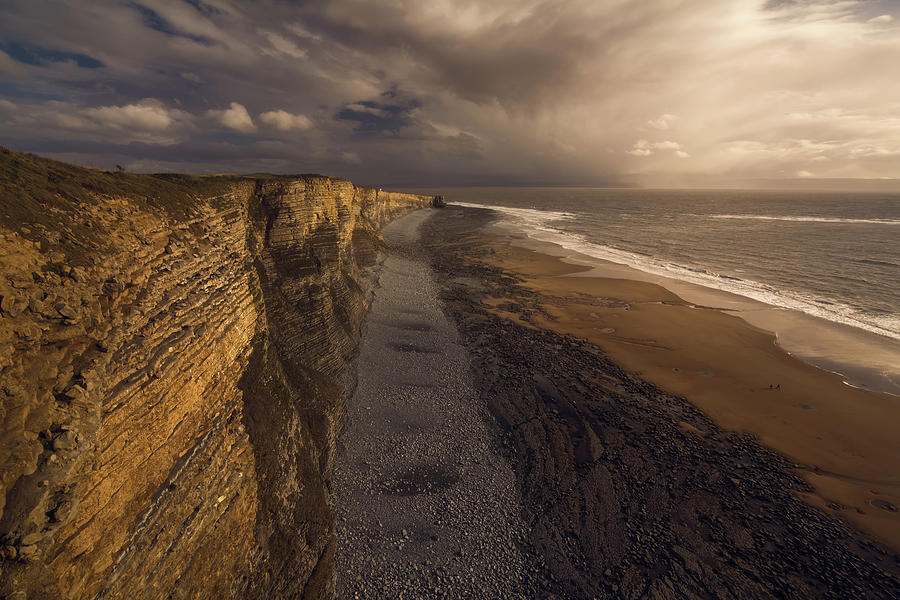 Porthcawl Photograph - A Walk by Milos Lach